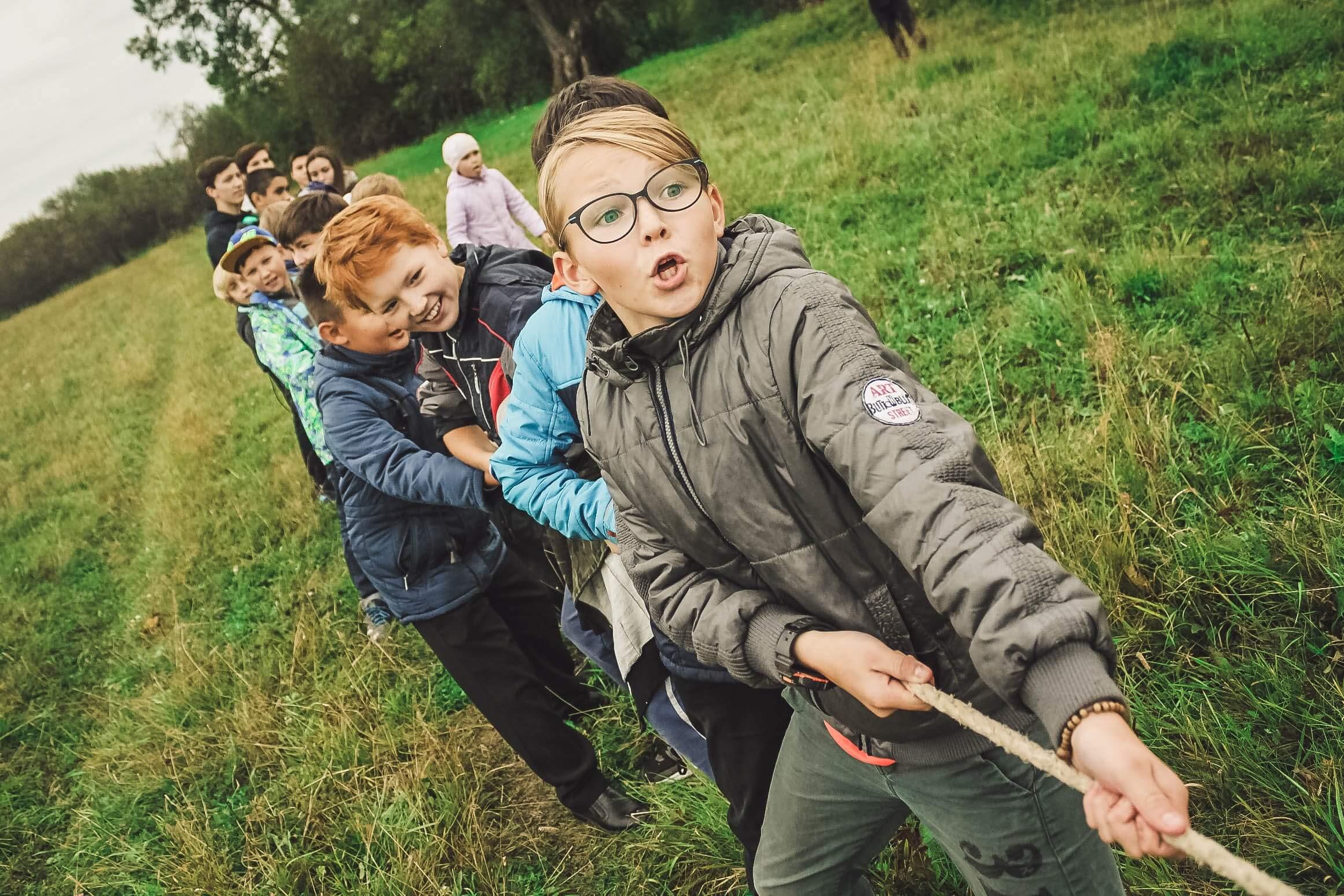 touwtrekken kinderen
